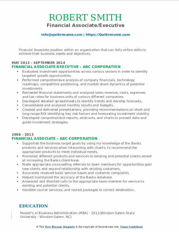 Financial Associate/Executive Resume Sample