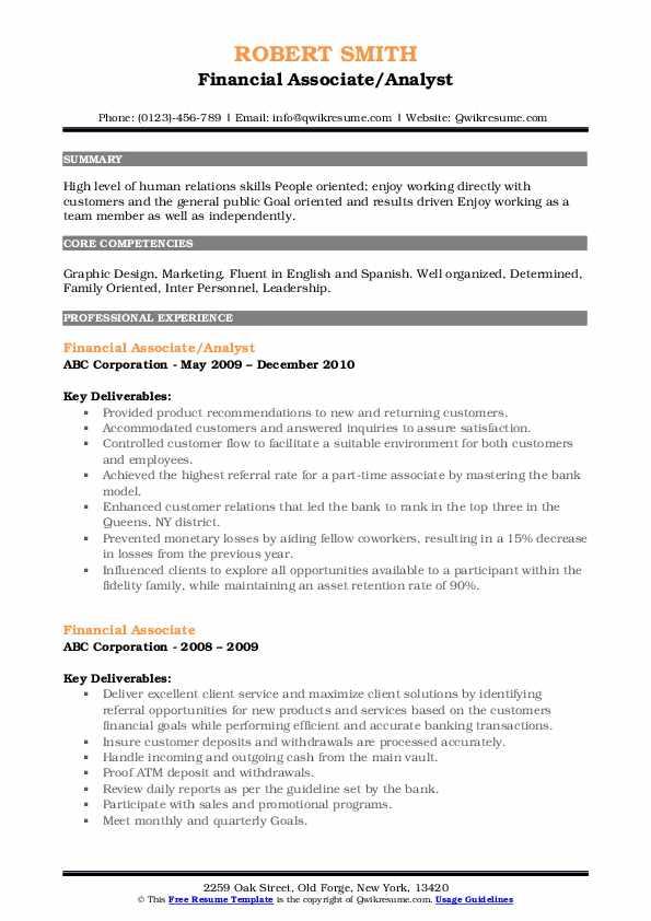 Financial Associate/Analyst Resume Model