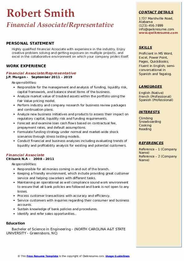 Financial Associate/Representative Resume Example