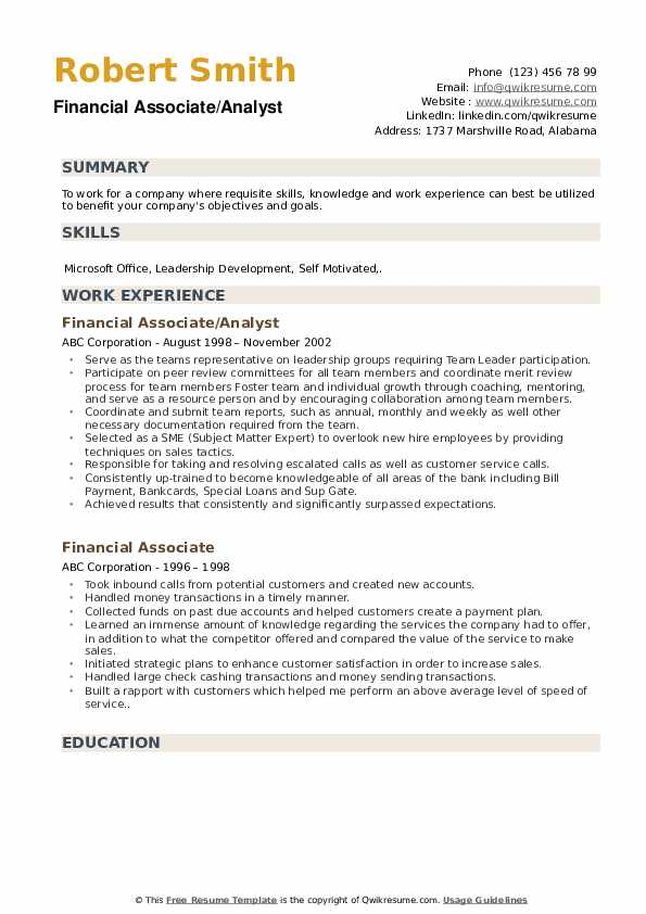 Financial Associate/Analyst Resume Format