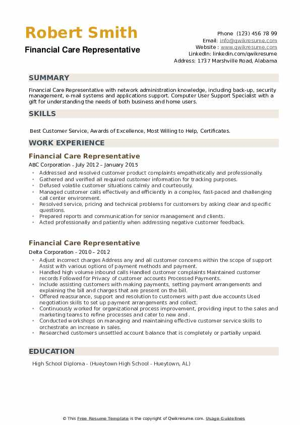 Financial Care Representative Resume example