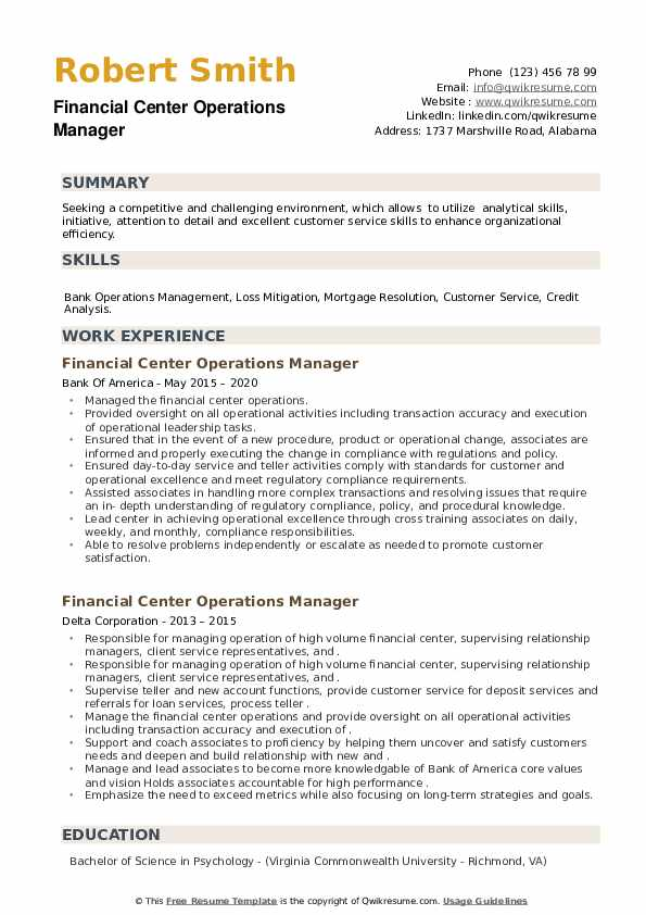 Financial Center Operations Manager Resume example