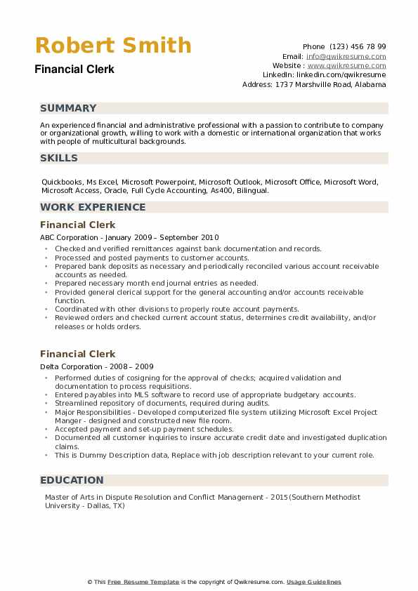 Financial Clerk Resume example