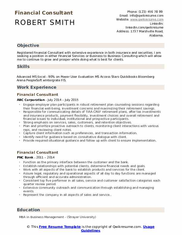 Financial Consultant Resume Samples