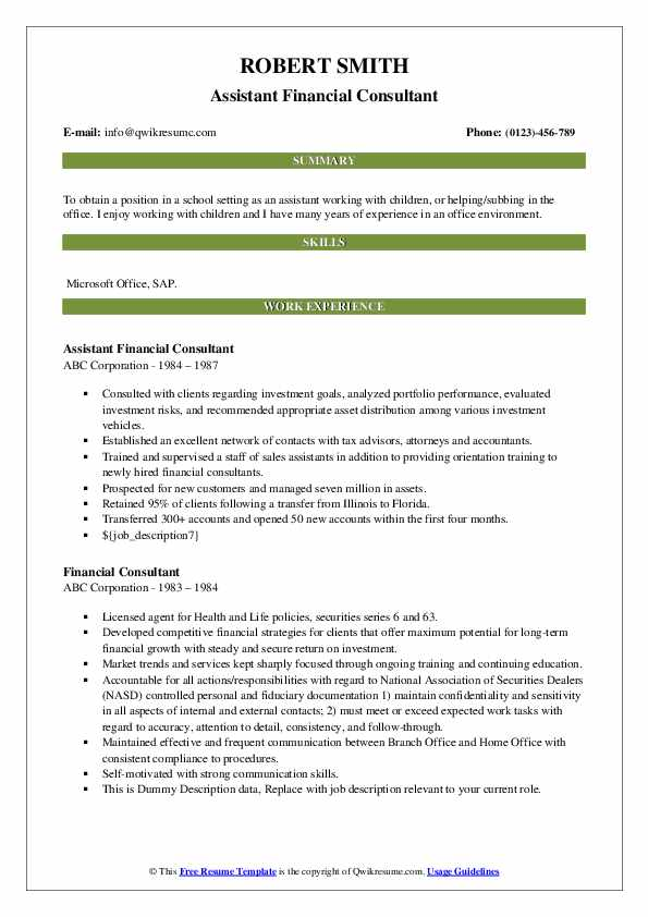 Assistant Financial Consultant Resume Example