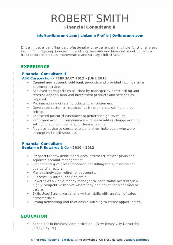 Financial Consultant II Resume Format