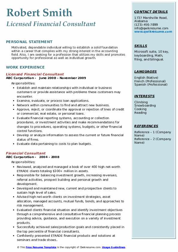 Licensed Financial Consultant Resume Template
