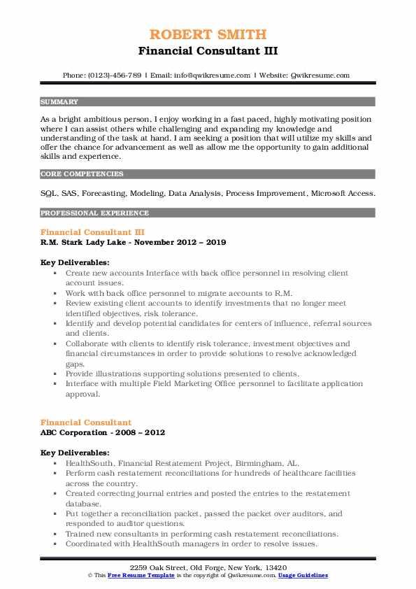 Financial Consultant III Resume Model