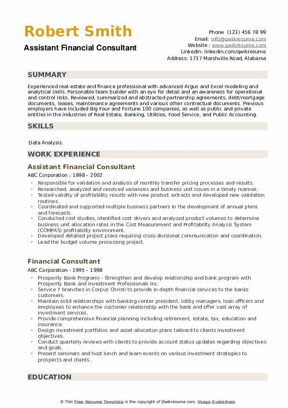 Assistant Financial Consultant Resume Template