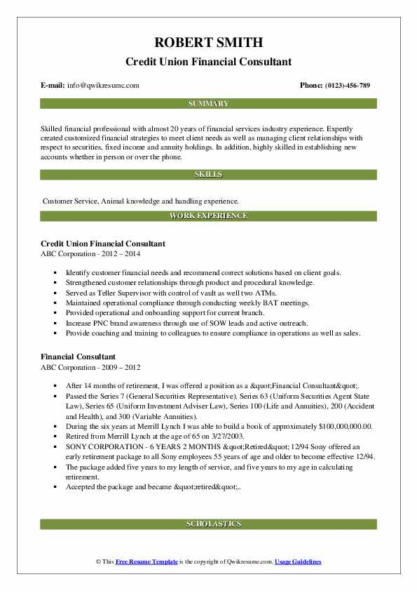 Credit Union Financial Consultant Resume Format