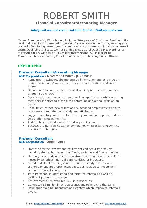 Financial Consultant/Accounting Manager Resume Model