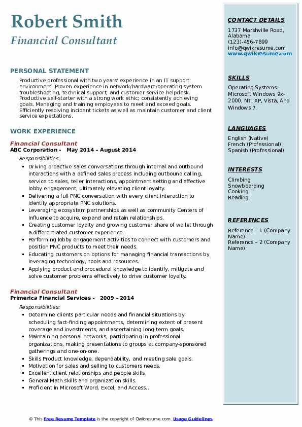 Financial Consultant Resume example