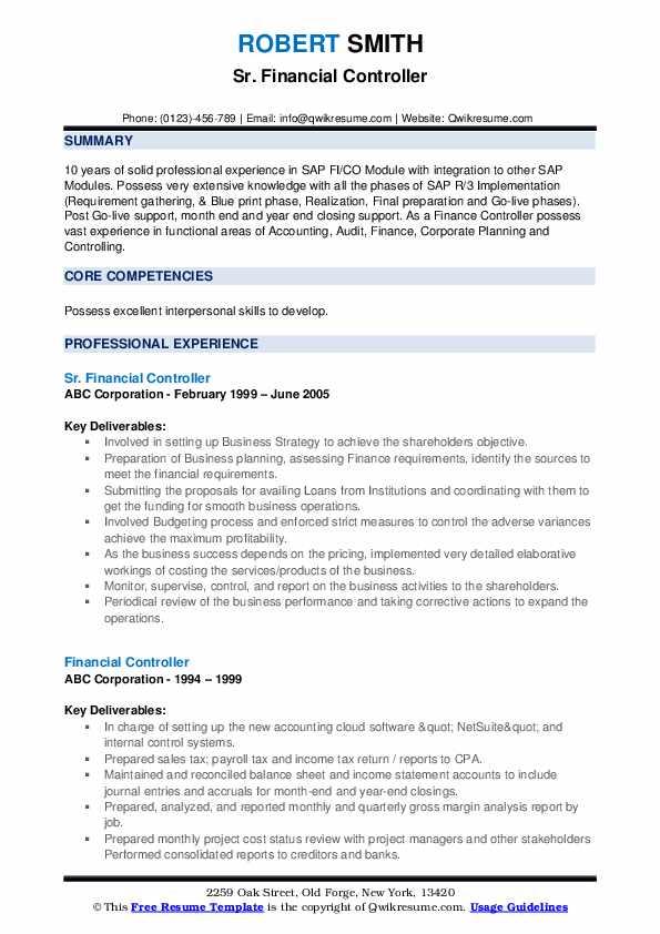 Sr. Financial Controller Resume Format