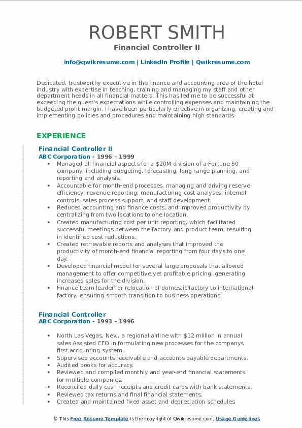 Financial Controller II Resume Format