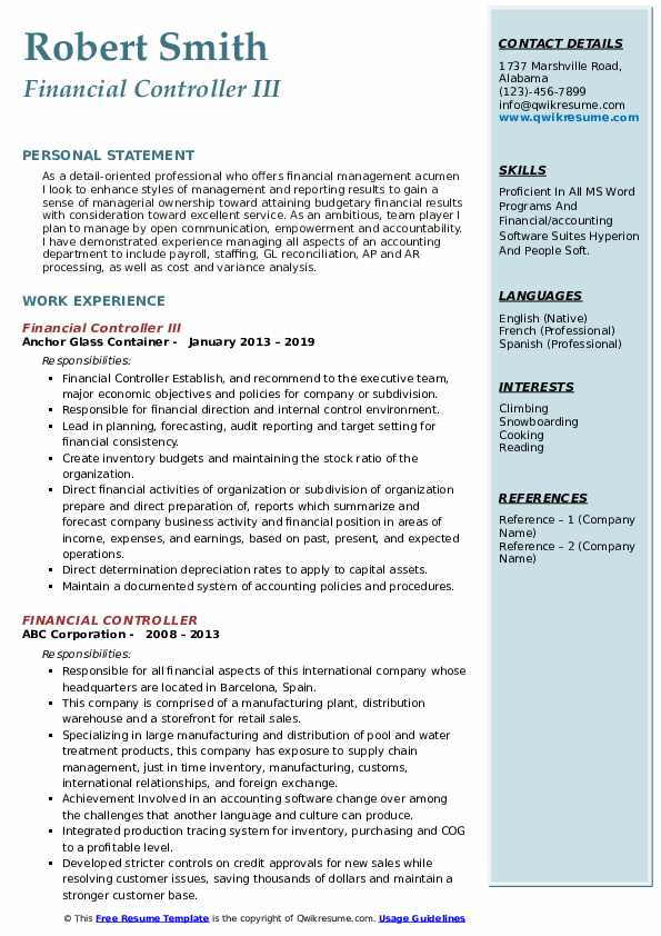 Financial Controller III Resume Format