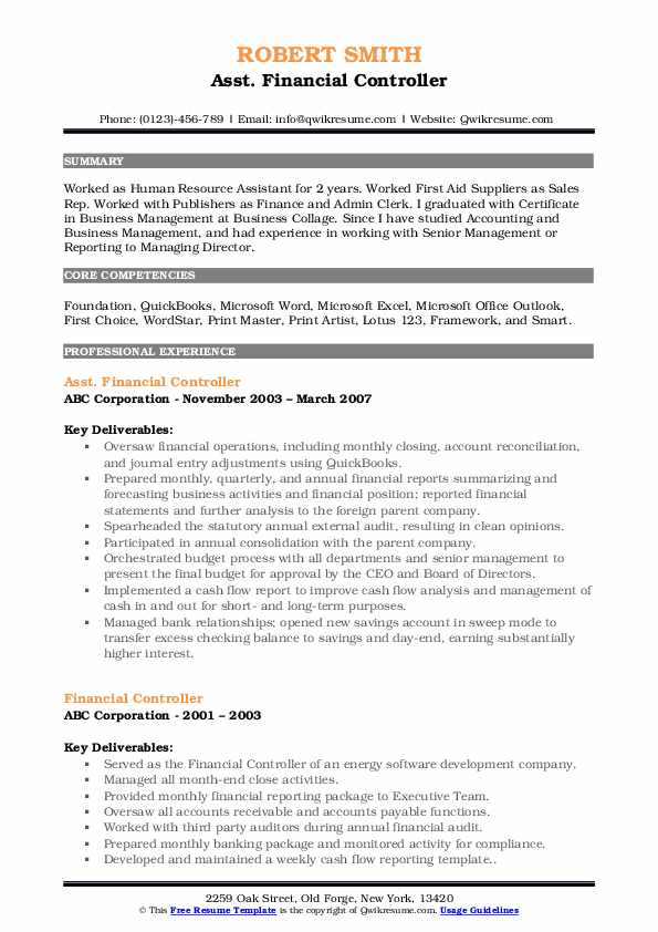 Asst. Financial Controller Resume Template