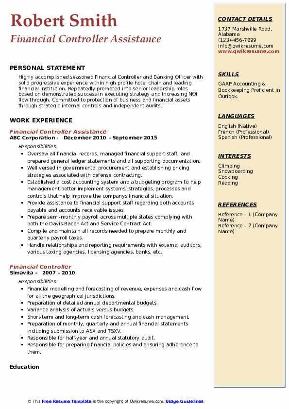 Financial Controller Assistance Resume Model