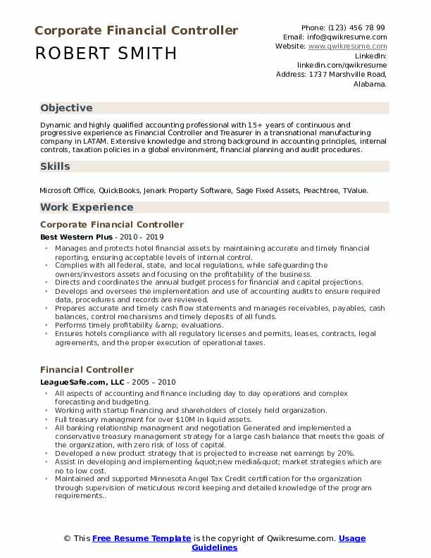 Corporate Financial Controller Resume Example