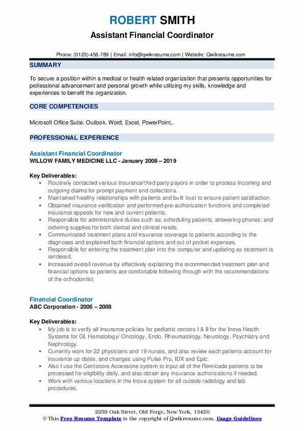 Assistant Financial Coordinator Resume Model