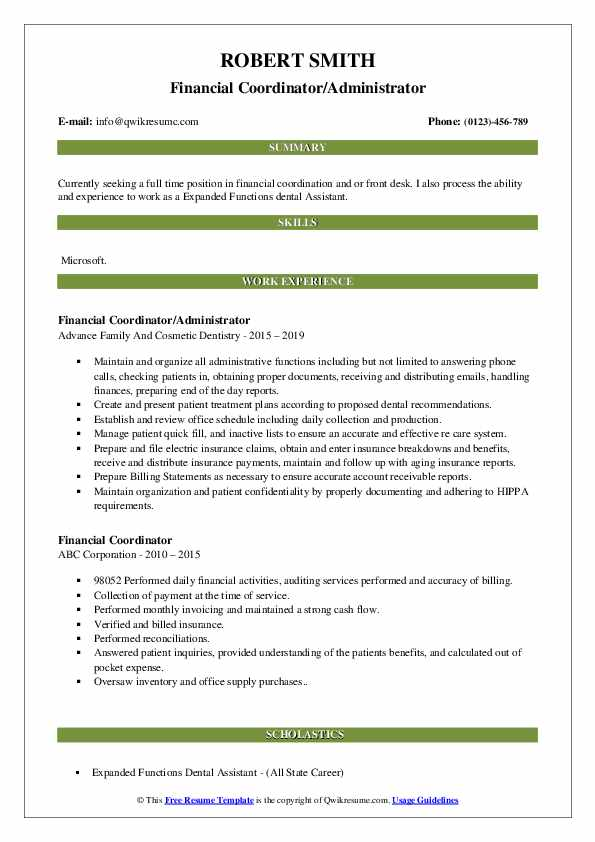 Financial Coordinator/Administrator Resume Template