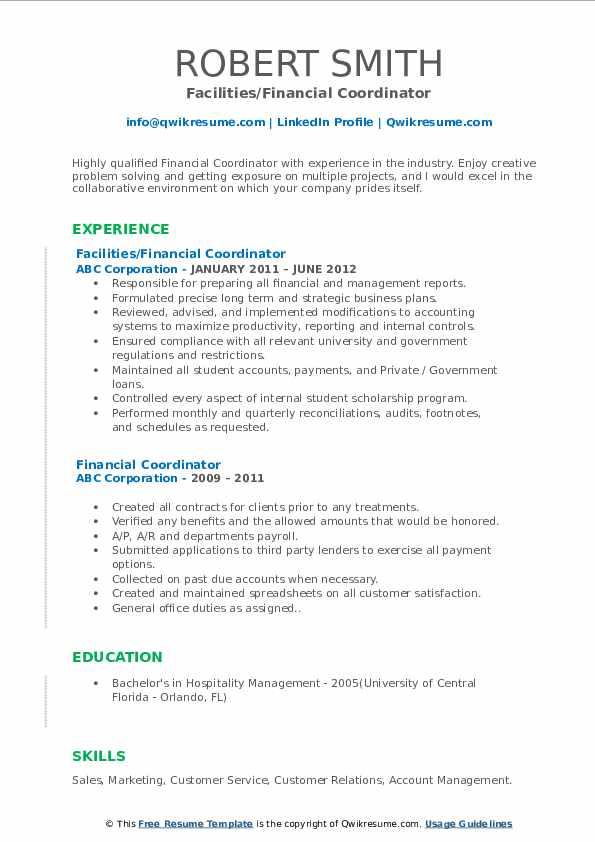 Facilities/Financial Coordinator Resume Sample