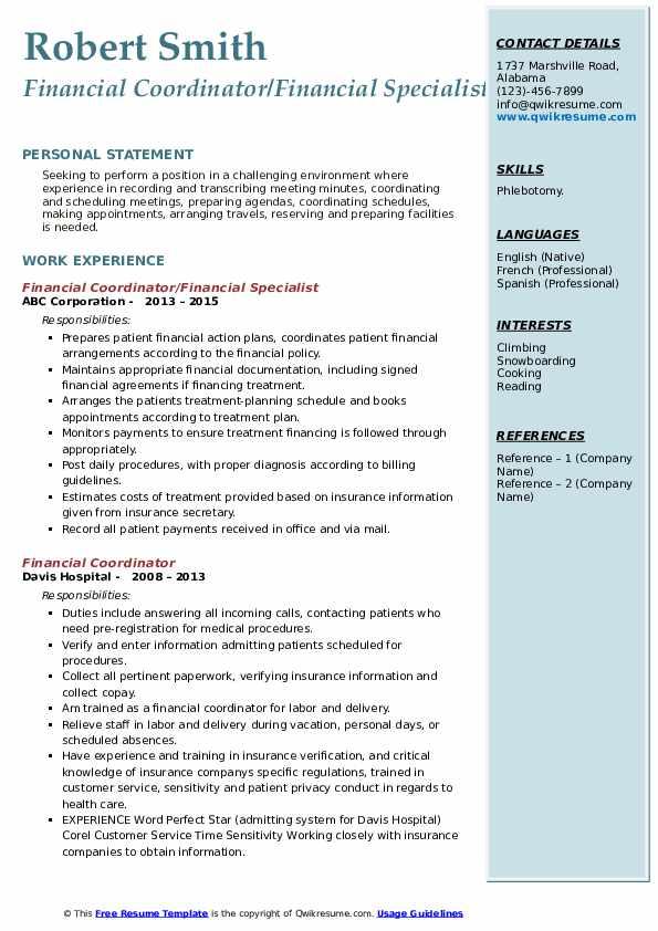 Financial Coordinator/Financial Specialist Resume Template