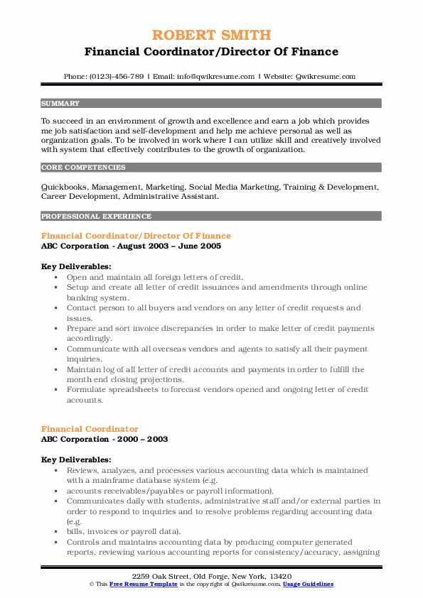 Financial Coordinator/Director Of Finance Resume Format