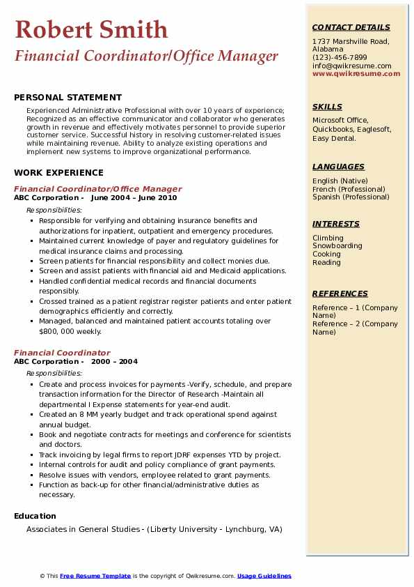 Financial Coordinator/Office Manager Resume Format