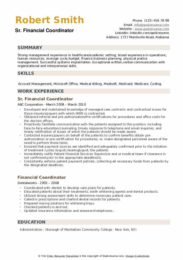 financial coordinator resume samples
