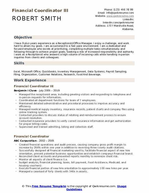 Financial Coordinator III Resume Template
