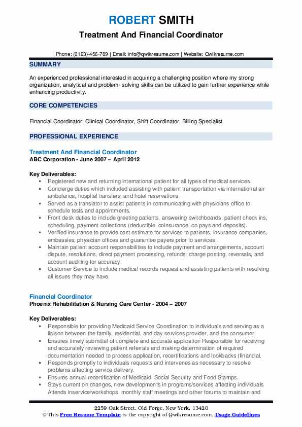 Treatment And Financial Coordinator Resume Template