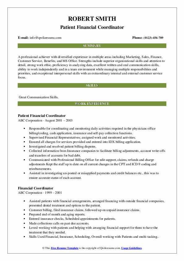 Patient Financial Coordinator Resume Format