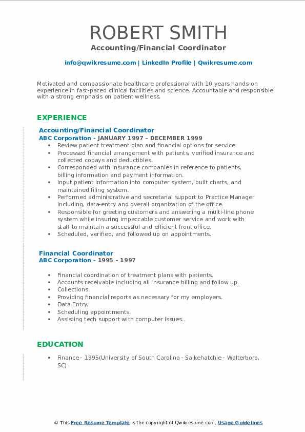Accounting/Financial Coordinator Resume Model