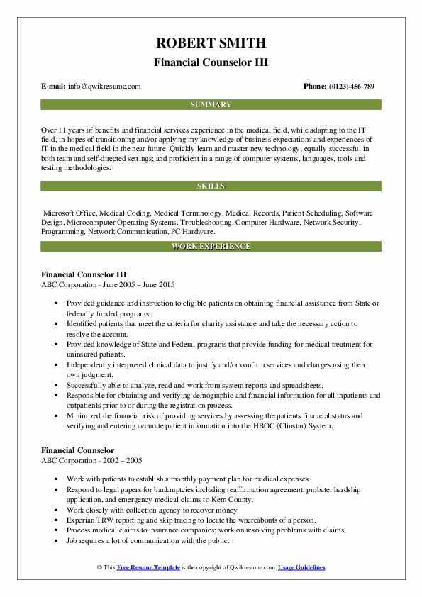 Financial Counselor III Resume Sample