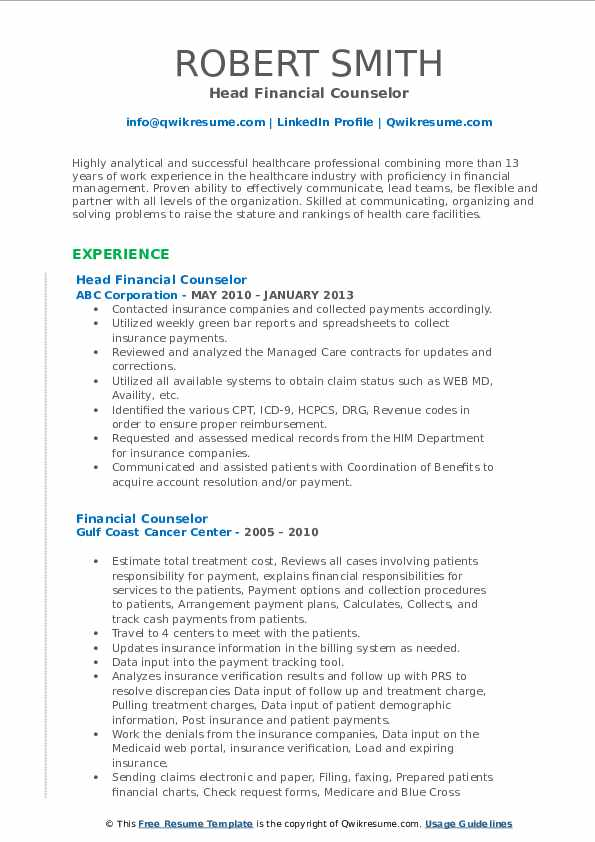 Head Financial Counselor Resume Model