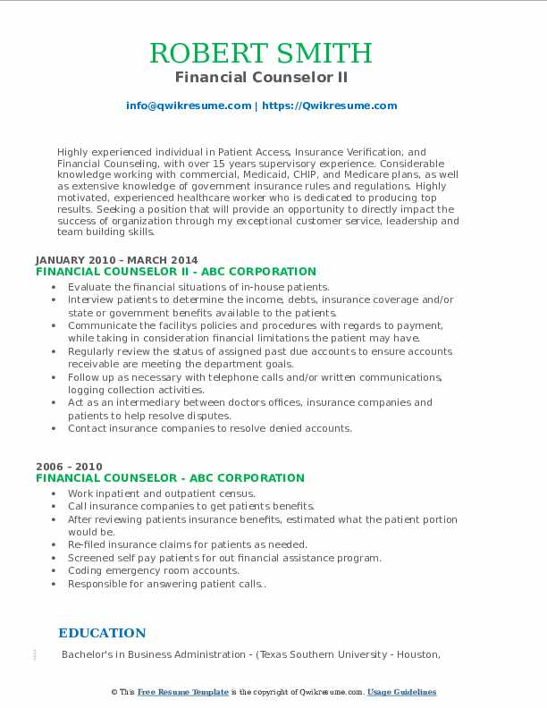 Financial Counselor II Resume Model