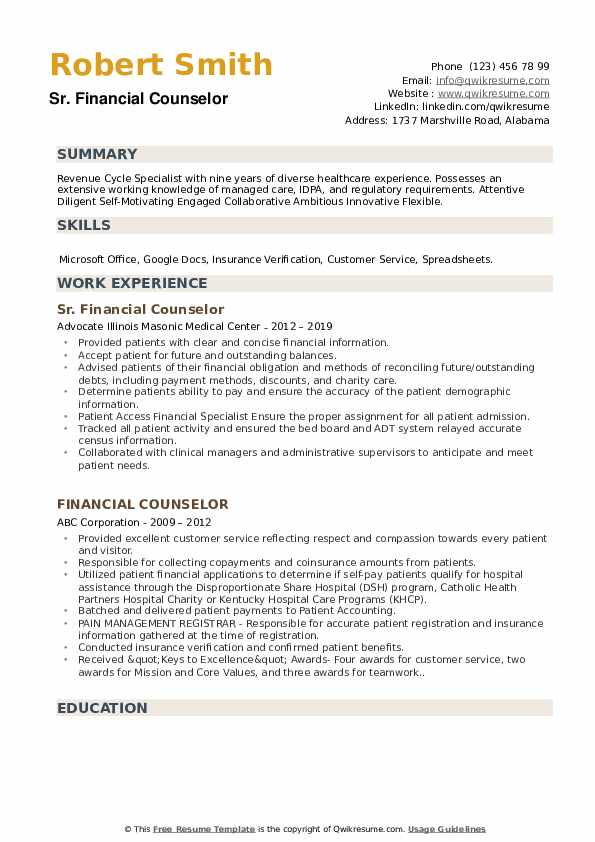 financial counselor resume samples