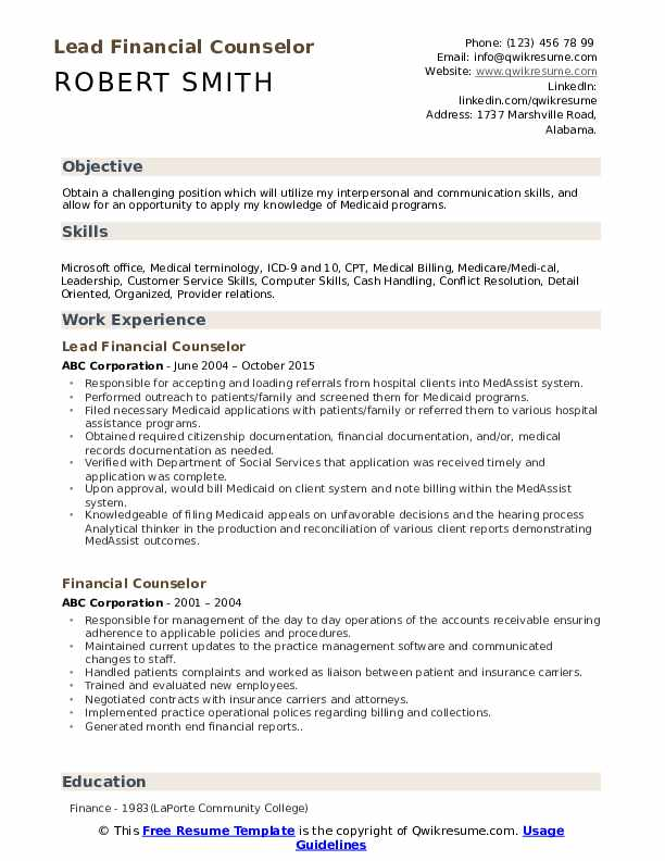 Lead Financial Counselor Resume Sample