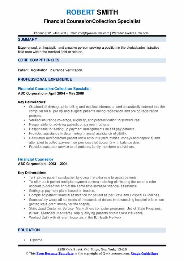 Financial Counselor/Collection Specialist Resume Sample