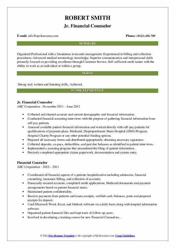 Jr. Financial Counselor Resume Template