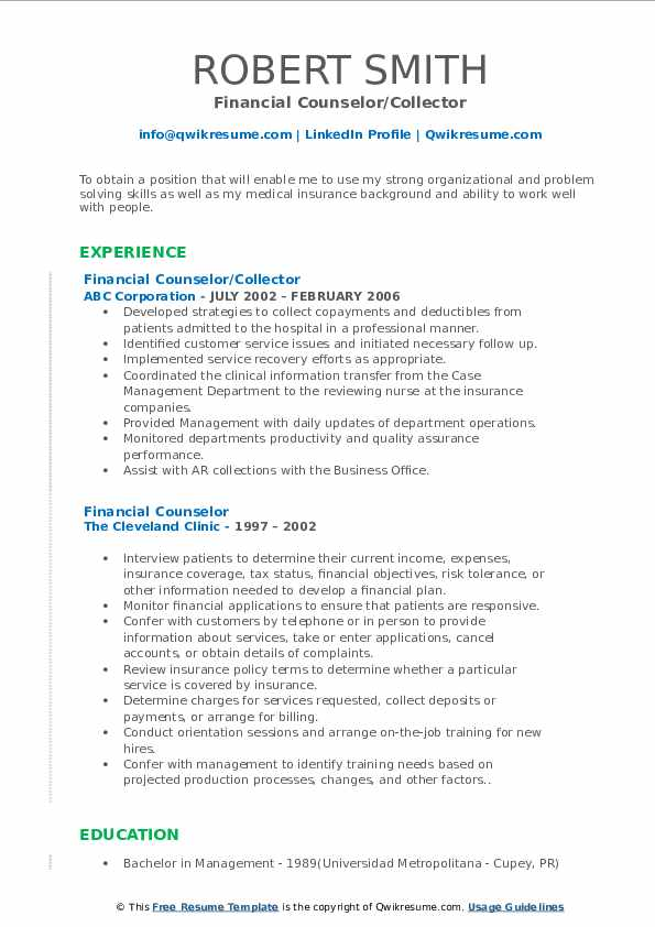 Financial Counselor/Collector Resume Template