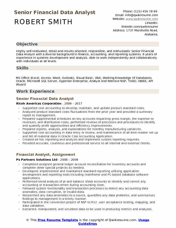 Senior Financial Data Analyst Resume Sample