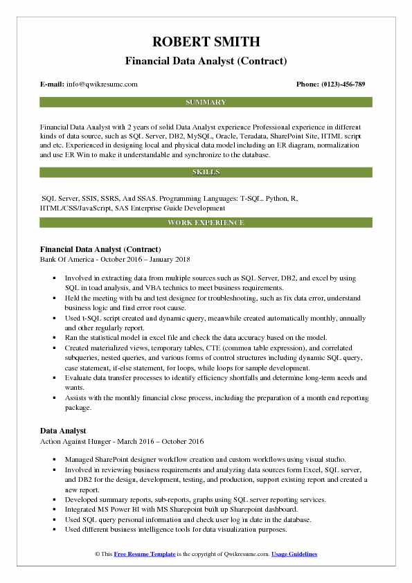Financial Data Analyst (Contract) Resume Sample
