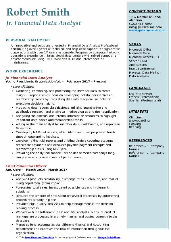 Jr. Financial Data Analyst Resume Sample