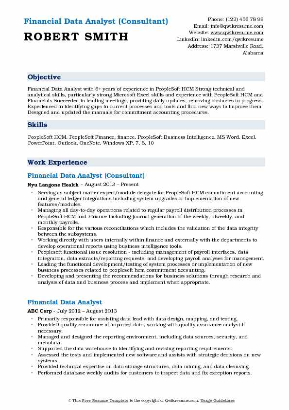 Financial Data Analyst (Consultant) Resume Model