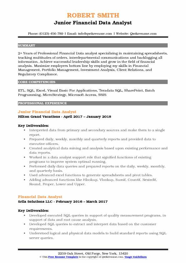 Junior Financial Data Analyst Resume Template