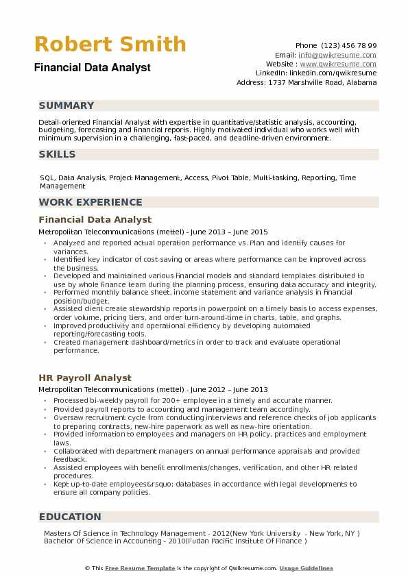 financial data analyst resume samples