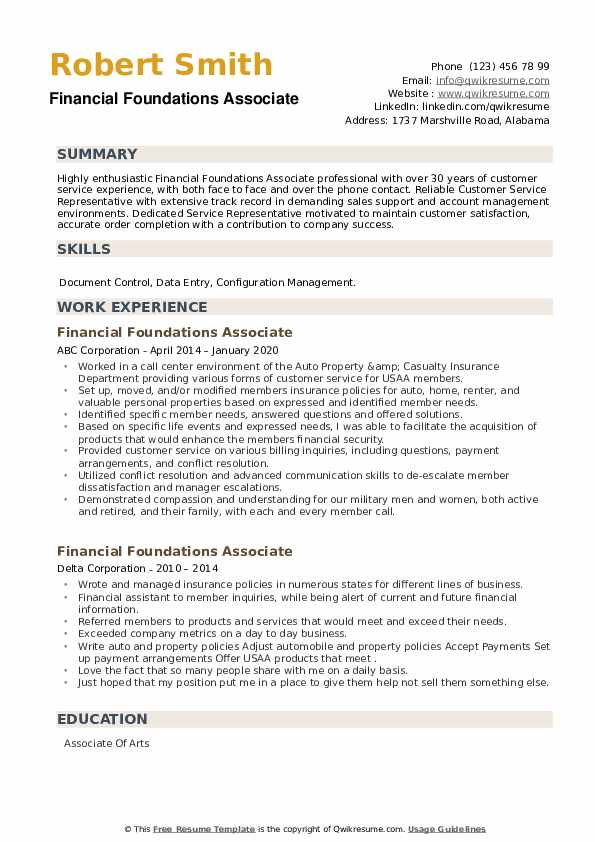 Financial Foundations Associate Resume example