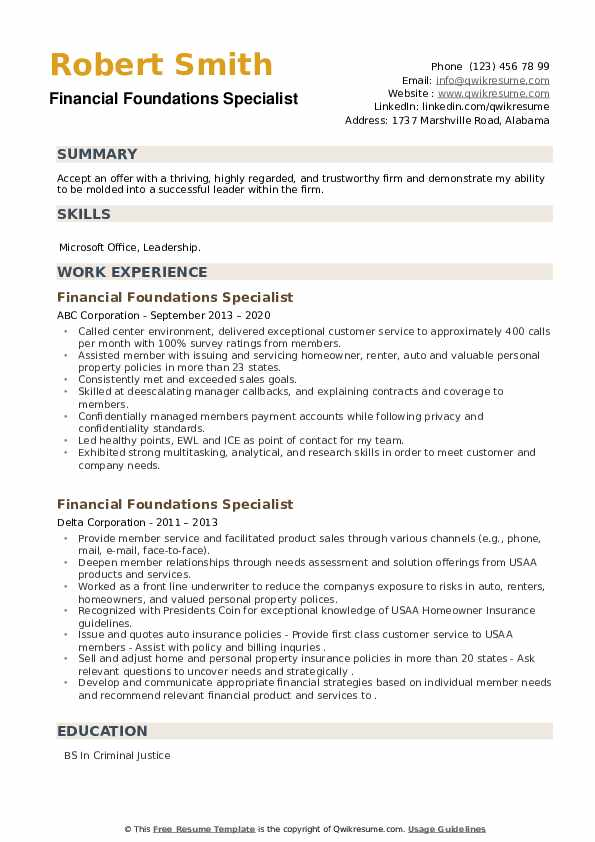 Financial Foundations Specialist Resume example