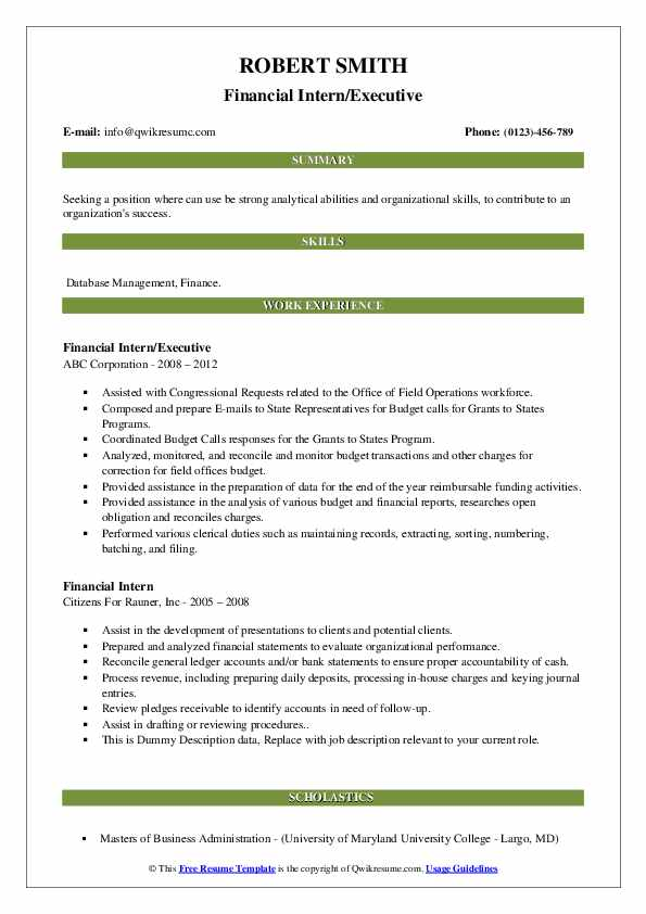 financial intern resume samples  qwikresume